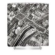 Tokyo Intersection Black And White Shower Curtain