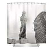 Tokyo Skytree In Clouds Shower Curtain