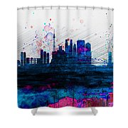 Tokyo Watercolor Skyline 2 Shower Curtain