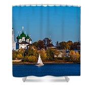 Tolga Monastery At River Volga Shower Curtain