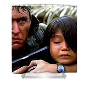 Tom Berenger In The Film Platoon - 1 Shower Curtain