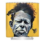 Tom Waits - He's Big In Japan Shower Curtain by Kelly Jade King