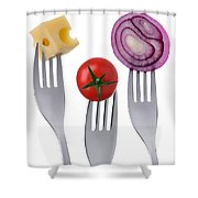 Tomato Cheese And Onion On Forks Against White Background Shower Curtain