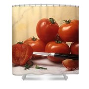 Tomatoes And A Knife Shower Curtain