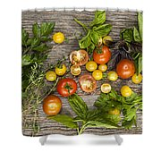 Tomatoes And Herbs Shower Curtain by Elena Elisseeva