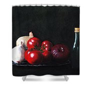 Tomatoes And Onions Shower Curtain by Anastasiya Malakhova