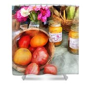 Tomatoes And Peaches Shower Curtain