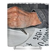 Tombstone Engraver At Work Shower Curtain