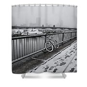 Too Cold To Cycle Shower Curtain
