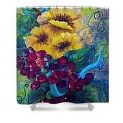 Too Delicate For Words - Yellow Flowers And Red Grapes Shower Curtain