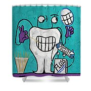Tooth Pick Dental Art By Anthony Falbo Shower Curtain