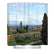 Top Of A Hill Town Shower Curtain