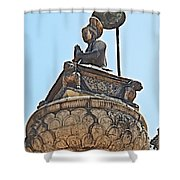 Top Of Stone Pillar In Bhaktapur Durbar Square In Bhaktapur-nepal Shower Curtain
