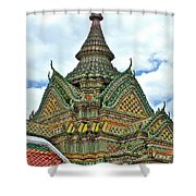 Top Of Temple In Wat Po In Bangkok-thailand Shower Curtain