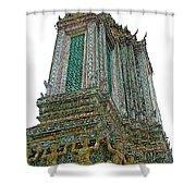 Top Of Temple Of The Dawn-wat Arun In Bangkok-thailand Shower Curtain