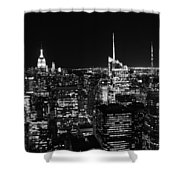 Top Of The Rock In Black And White Shower Curtain