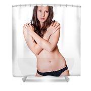 Topless Brunette Shower Curtain