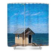 Torekov Beach Hut Painting Shower Curtain