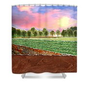 Torn Paper Fields Of Green And Brown Shower Curtain