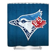 Toronto Blue Jays Baseball Team Vintage Logo Recycled Ontario License Plate Art Shower Curtain