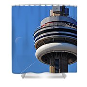 Toronto Cn Tower Moon And Jet Trail Shower Curtain