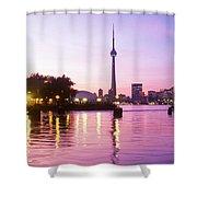 Toronto Skyline At Sunset, Toronto Shower Curtain by Peter Mintz