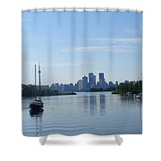 Toronto Skyline From Tommy Thompson Park Shower Curtain