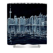 Toronto Skyline In Blue Shower Curtain