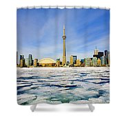 Toronto Skyline In Winter Shower Curtain