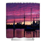 Toronto Skyline - The Boats Are Coming In Shower Curtain