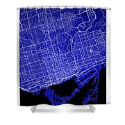 Toronto Street Map - Toronto Canada Road Map Art On Colored Back Shower Curtain