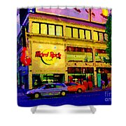Toronto Street Scene Night Scapes Hard Rock Cafe Downtown Drive By City Lights Canadian Art Cspandau Shower Curtain