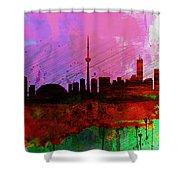 Toronto Watercolor Skyline Shower Curtain