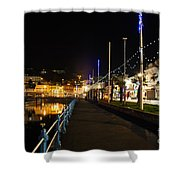 Torquay Victoria Parade At Night Shower Curtain