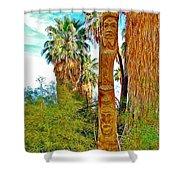 Totem Pole In Coachella Valley Preserve-california Shower Curtain