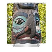 Totem Pole In Seattle  Shower Curtain by Bryan Mullennix