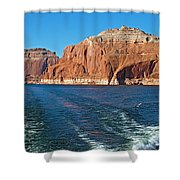 Tour Boat Wake In Lake Powell In Glen Canyon National Recreation Area-utah  Shower Curtain