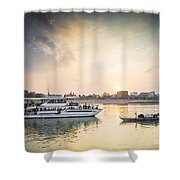 Tourist Boat On Sunset Cruise In Phnom Penh Cambodia River Shower Curtain