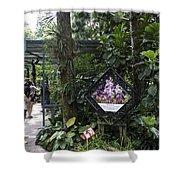 Tourist Doing Photography And Viewing Plants In A Garden Shower Curtain