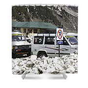 Tourist Vehicles Parked At The No Parking Sign In Sonmarg Shower Curtain