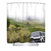 Tourists And Bus Inside The Eravikulam National Park Shower Curtain