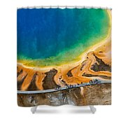 Tourists At Grand Prismatic Shower Curtain