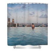 Tourists At Infinity Pool Of Marina Bay Shower Curtain