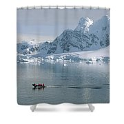 Tourists In Zodiac Boat Paradise Bay Shower Curtain