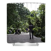 Tourists Inside A Downward Sloping Section In The Orchid Garden Shower Curtain