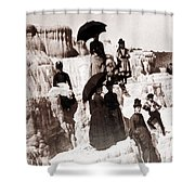 Tourists On Mammoth Terraces Shower Curtain