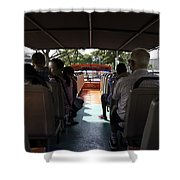 Tourists On The Sight-seeing Bus Run By The Hippo Company In Singapore Shower Curtain by Ashish Agarwal