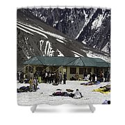 Tourists Surrounded By Snow And Ice Outside One Of The Few Buildings Shower Curtain