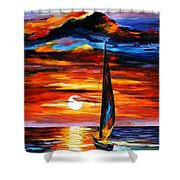 Towards The Sun - Palette Knife Oil Painting On Canvas By Leonid Afremov Shower Curtain