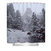 Towards Top Of Bear Peak Mountain During Intense Snow Storm - North Side Shower Curtain